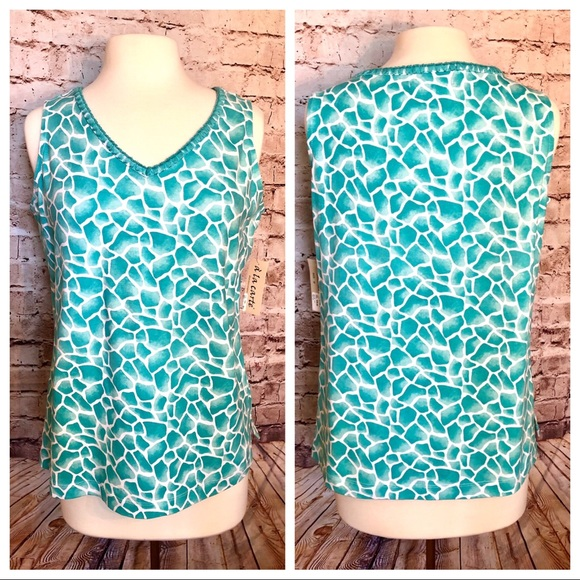 Tops - Turquoise Animal print active top